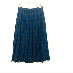 Pendleton Vintage pleated Tartan Midi wool skirt